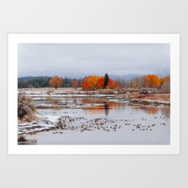Late Fall at Oxbow Bend Turnout Art Print
