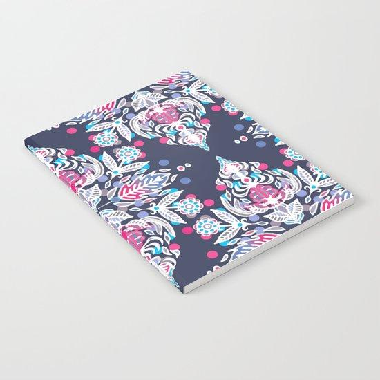 Pastel Folk Art Pattern in soft navy, pink, mauve & white Notebook