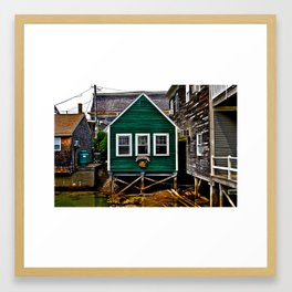Watery Green Shack Framed Art Print