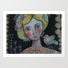 Lady with Flying Thoughts Art Print