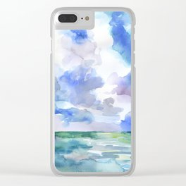 Abstract Ocean Watercolor Clear iPhone Case