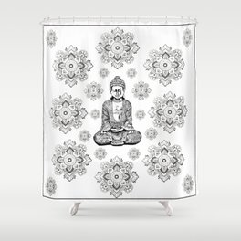 Buddha, HOME DECOR,with hand-painted Mandala Clouds,iPhone case,iPhone cover,iPhone skin,Laptop skin Shower Curtain