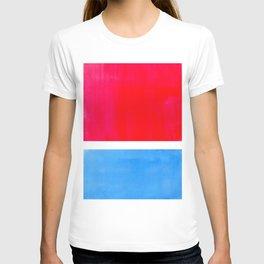 Colorful Bright Minimalist Rothko Midcentury Modern Art Vintage Pop Art Neon Red Cerulean Blue T-shirt