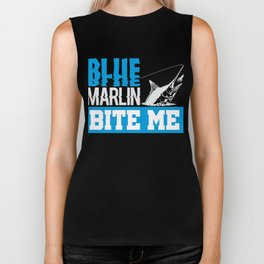 Blue Marlin Bite Me Funny Fisherman Gift Biker Tank
