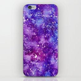 Artistic white paint splatters pink purple watercolor iPhone Skin