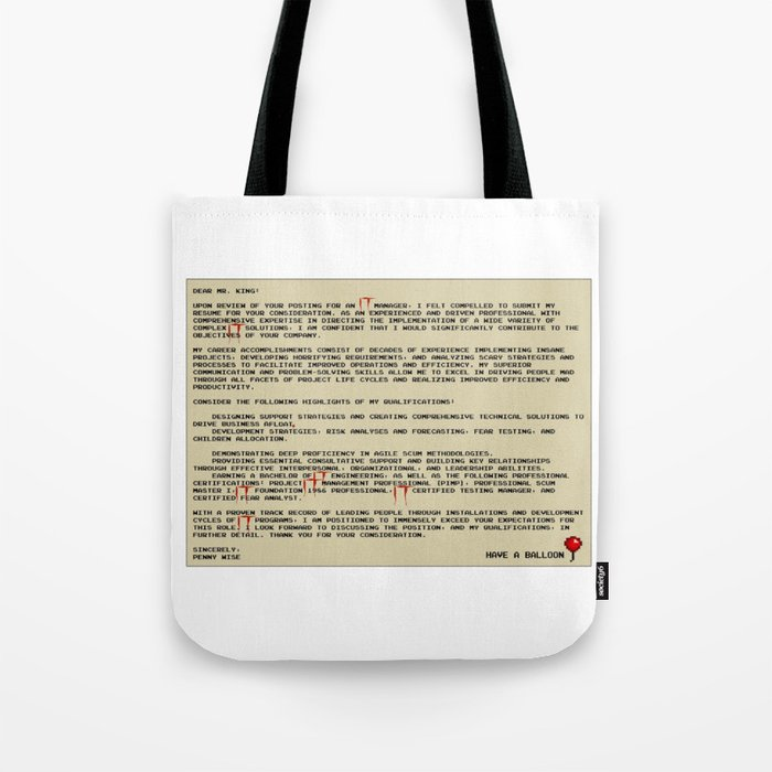 IT Manager Cover Letter Tote Bag by spikes300