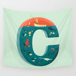 Plenty of Fish in the C  (blue) Wall Tapestry