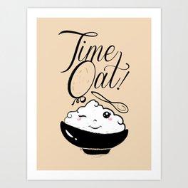 Time Oat - Funny Kawaii Oatmeal Art Print