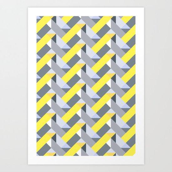 Herringbone geometric yellow Art Print