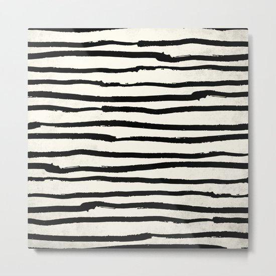 Tribal Stripes Black Earth on Ivory Cream Metal Print