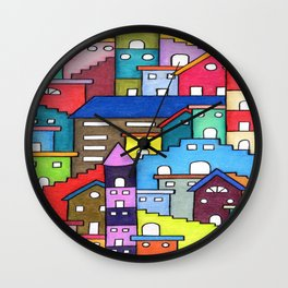 Crazy Houses Wall Clock