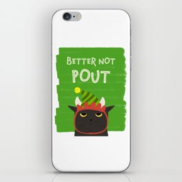 Angry Black Cat Christmas Better Not Pout Holidays iPhone Skin