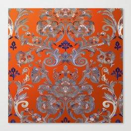 Painted Tibetan Brocade orange Canvas Print