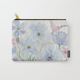 Lavender and Blue Watercolor Wildflowers Carry-All Pouch