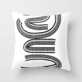 Zen Peaceful  Line Art Minimal Black and White Graffiti  Throw Pillow