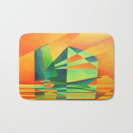 Chinese Junk Sails at Sunrise Bath Mat