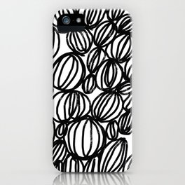 Loop black and white minimalist abstract painting mark making art print iPhone Case