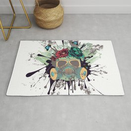 Green Gas Mask with Roses Rug