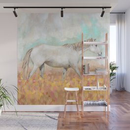 White Horse in Yellow Wildflower Field  Wall Mural