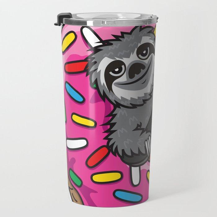 Sloth Skate Donut Travel Mug
