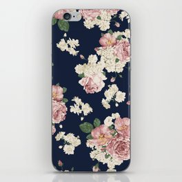 Pink Roses on dark blue pattern iPhone Skin