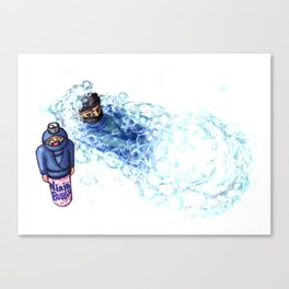 Ninja Stealthily Disappears into Bubble Bath Canvas Print