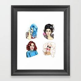 Drag Queen Fan Art feat. Adore, Dela, Jinkx and Trixie Framed Art Print