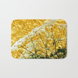 GOLDEN LACE FLOWERS FROM SOCIETY6 BY SHARLESART. Bath Mat