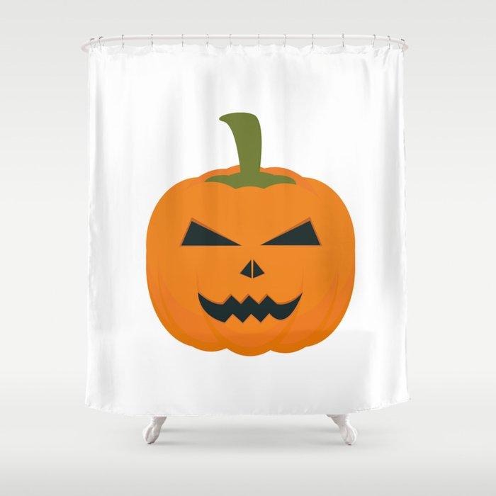 Evil Halloween pumpkin Shower Curtain