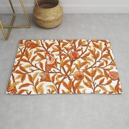 Art Nouveau Bird and Pomegranate, Mandarin Orange and Gold Rug