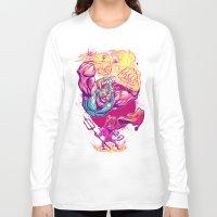 diablo Long Sleeve T-shirts featuring LUCHADORO VS EL DIABLO by BeastWreck