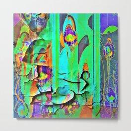 DECORATIVE GREEN SHABBY CHIC PEELING WALLPAPER DESIGN Metal Print