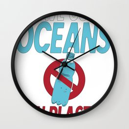Save Our Oceans Ban Plastics Coastal Cleanup No Nurdles Wall Clock