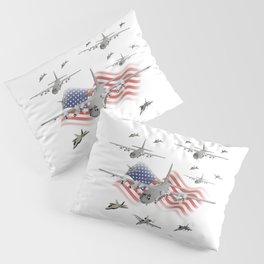 American Air Force Armada AC130 F22 F16 A10 Pillow Sham