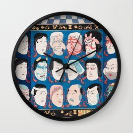 Utagawa Kuniyoshi - A Votive Tablet With Masks Of Kabuki Actors At Face Value Wall Clock