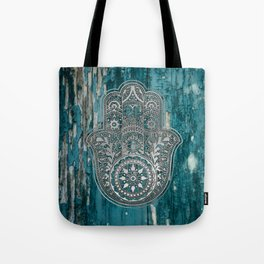 Silver Hamsa Hand On Turquoise Wood Tote Bag