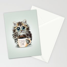 cat coffee time Stationery Cards