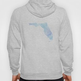 Typographic Florida - blue watercolor Hoody