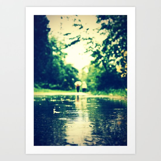 A rainy walk Art Print