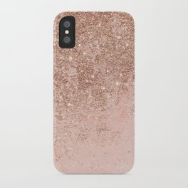 Girly blush coral faux rose gold glitter marble iPhone Case