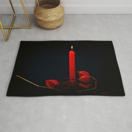 Red Candle Physalis And Rowan Fruits On Black Rug