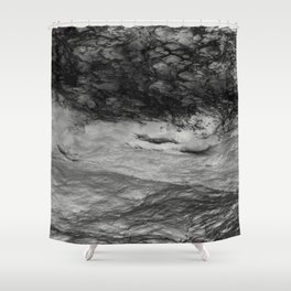 Black Tempest - Abtract Ocean Sea Pattern in Black And White Shower Curtain