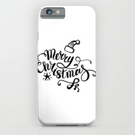 We wish you a merry christmas - typography quotes illustration iPhone Case