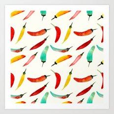 Hot chili peppers Art Print