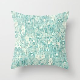canadian animals teal pearl Throw Pillow