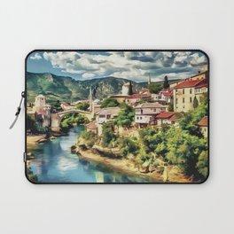 Mostar Old Bridge painting, old city of Mostar scenery, Stari Most Bosnia, nature travel art poster Laptop Sleeve