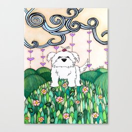 Cameo the Dog on a Hill Canvas Print