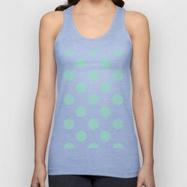 Gone Dotty Spotty - Geometric Orbital Circles In Pale Spring Fresh Green on White Unisex Tank Top