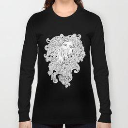 Art Nouveau Swirly Girl Long Sleeve T-shirt