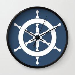 Navy Nautical Ship Wheel Wall Clock